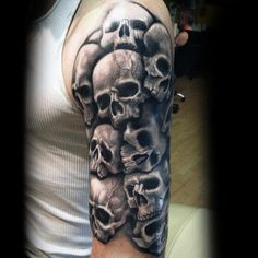 50 Skull Sleeve Tattoos For Men - Male Design Ideas - Man St.- 50 Skull Sleeve Tattoos For Men – Male Design Ideas – Man Style Skull Sleeve Tattoos, Body Art Tattoos, Tattoo Drawings, Male Tattoo Sleeves, Diy Tattoo, Tattoo Ideas, Tattoo Themes, Skull Tattoo Design, Tattoo Designs Men