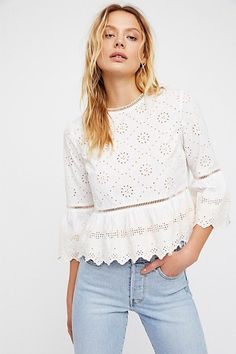 Merci Beaucoup Top by Free People Boho Fashion Over 40, High Fashion, Fashion Brands, Winter Fashion, Girls Fashion Clothes, Clothes For Women, Fancy Tops, Flutter Sleeve Top, Basic Tops