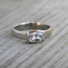 14k Palladium White Gold and White Sapphire Engagement Ring