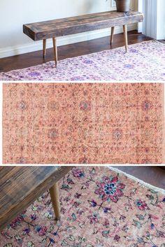 Vintage blush pink, peachy Kilim flatweave distressed rug https://sfrugs.com 8x5 rug - Perfect as living room rug, bedroom rug, dining room rug, kids room rug. @sfrugsonline