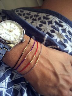 Seven Wish bracelet with 14k solid gold beads