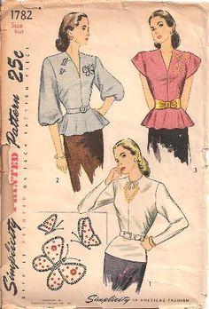 Misses Blouse Vintage Sewing Pattern. Misses Blouse Vintage Sewing Pattern. Moda Vintage, Vintage Mode, Vintage Outfits, Vintage Dresses, Vintage Clothing, Vintage Dress Patterns, Clothing Patterns, 1940s Fashion, Vintage Fashion
