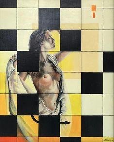 Gérard Basiletti (1947-2008). Mosaïque (1986). Huile sur toile, 97 x 81,5 cm.