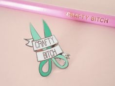 Hey, I found this really awesome Etsy listing at https://www.etsy.com/uk/listing/500667419/crafty-btch-hard-enamel-pin-lapel-pin