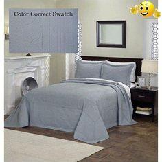 Pem America French Tile Bedspread In Dusty Blue King