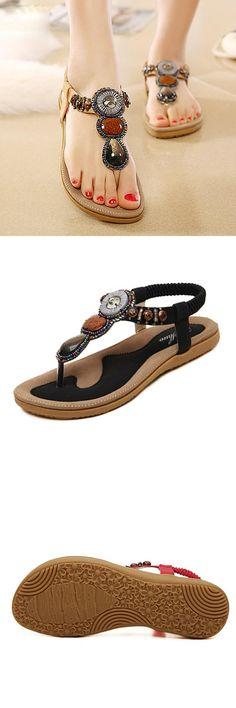 e296021eedeb9  Visit to Buy  GENSHUO Woman 2017 New Summer Flat Sandals Ladies Bohemia  Beach Flip