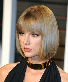 Taylor Swift Bob Hairstyle - Medium Straight Formal - Dark Blonde