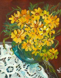 Tiny Yellow Buoquet   Acrylic Still Life with Lace   Original Acrylic Painting   Dora Stork   Encaustic Artist Acrylic Paintings, Oil Paintings, Stork, Still Life, Yellow, Lace, Floral, Artist, Flowers