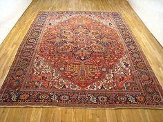 "Persian: Geometric 13' 8"" x 11' 0"" Vintage Heriz at Persian Gallery New York - Antique Decorative Carpets & Period Tapestries"