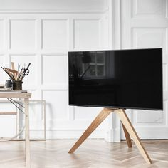 VOGEL& Next tv floor stand / tv furniture. The floor stand from Vogels r . Tv Floor Stand, Tv Furniture, Stand Design, Tripod Lamp, Small Apartments, Home Living Room, Sweet Home, New Homes, Smart Tv