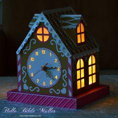 Gingerbread House Clock lit #birdscards #birdssvgs