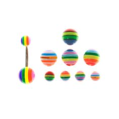 Rainbow Stripe Belly Bar with 9 Balls