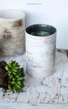 OMG, birch wood scrapbook paper wrapped jars!  Simple Christmas decor, birch wood succulent planters |via lollyjane.com