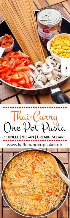 Cremig-scharfe Thai-Curry One Pot Pasta {vegan} | Kaffee & Cupcakes #vegan #onepotpasta #pasta #nudeln #rezept #kochen #linguine #spaghetti #paprika #currypaste #scharf #schnell #einfach #champignons #mais #kokos #kokosmilch #cremig