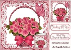 Pretty pink roses roses in a basket  with small card and bow with sympathy 8x8 on Craftsuprint - View Now!