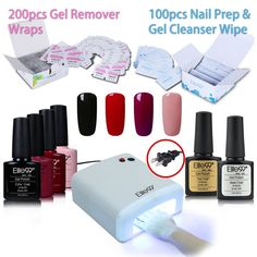 Elite99 Nail Art Set, 4 color Nail Gel Polish + Base Top Coat + 36W Nail Lamp(US Plug) + 200pcs Gel Remover Wraps + 100pcs Nail Prep & Gel Cleanser Wipe C017. Item Included: 4 x Color Gel Polish, 1 x Top Coat,1 x Base Coat, 1 x 36W UV Lamp, 200 x Gel Remover Wraps, 100 x Nail Prep & Gel Cleanser Wipes. Elite99 Gel polish. Color resistant, flexible and shiny resistant to any test.Long lasting for at least 2-3 weeks, fantastic and super bright nails for you. 36W Nail Light. Easy and…