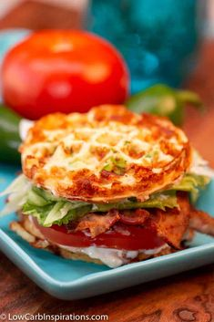 This Keto BLT Chaffle Sandwich is the best keto sandwich bread I've had in more than 2 years! It's easy to make and fun to eat! We added a few extra ingredients! The post Keto BLT Chaffle Sandwich appeared first on Low Carb Inspirations. Low Carb Keto, Low Carb Recipes, Diet Recipes, Cooking Recipes, Healthy Recipes, Recipies, Ramen Recipes, Cabbage Recipes, Spinach Recipes