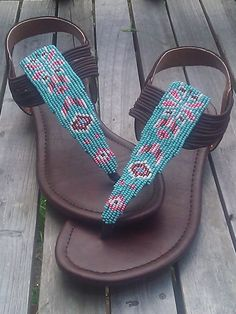 Native American Beaded Greek Style Sandals in by SplitFeather, (Victoria B, Fort Peck Assiniboine and Sioux Tribes) - on Etsy