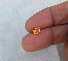 Asscher Cut Orange Sapphire for Engagement by PristineGemstones, $380.00