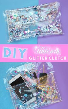 How to Make a Transparent Clutch - DIY Unicorn Glitter Purse Fashion Accessory. Learn how to make a super sparkly transparent clutch purse that is filled with oh so pretty unicorn glitter. Great gift idea for teens and women. - August 04 2019 at Diy Unicorn, Unicorn And Glitter, Unicorn Crafts, Unicorn Costume, Diy Clutch, Diy Purse, Clutch Purse, Sequin Crafts, Glitter Crafts