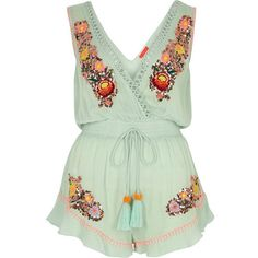 River Island Light green embellished beach playsuit ($68) ❤ liked on Polyvore featuring river island