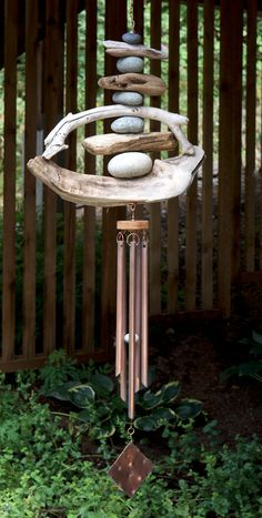 Driftwood Beach Stone Wind Chime Large Copper Chimes