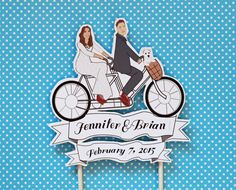 Vintage Tandem Bike Wedding Cake Topper Custom by ThePixelette