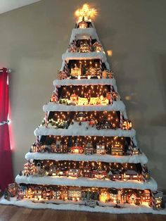 Wall Christmas Village Tree Decor Style Home Decor Style Decor Tips Maintenance Christmas Tree Village Display, Unique Christmas Trees, Christmas Villages, Noel Christmas, Country Christmas, Christmas Projects, Winter Christmas, Village Noel, Christmas Ideas For Kids