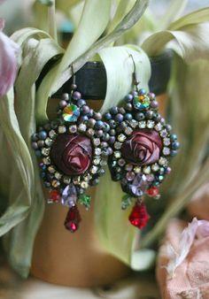 Dark rose earrings bold lightweight romantic bohemian