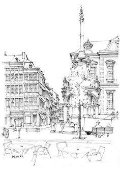 Architectural Sketches - Liège, place du Marché by gerard michel, via Flickr