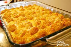 Tater tot breakfast casserole I would sub the sausage with bacon