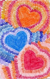 Radiating Valentine Card - this site has a lot of great art ideas for children