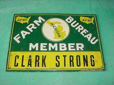 GRAPHIC * 1950s vintage MICHIGAN FARM BUREAU Old Embossed Tin Sign
