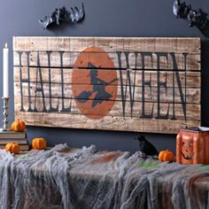Halloween Witch Wood Plank Sign   Kirklands