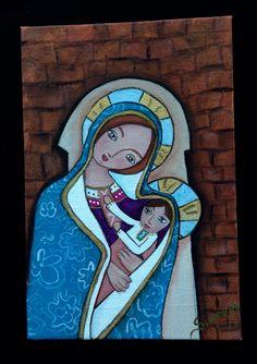 Mi niña virgen con niño en brazos  P. Acrílico  F. 12x18 cm