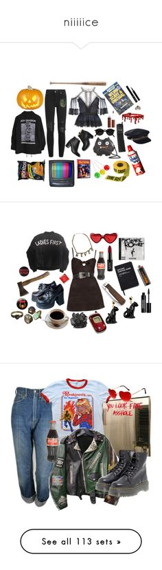 """niiiiice"" by vampd0ll ❤ liked on Polyvore featuring AMIRI, Notte by Marchesa, Charlotte Russe, Louisville Slugger, POLICE, Eugenia Kim, Giorgio Armani, Yves Saint Laurent, Killstar and Nach"
