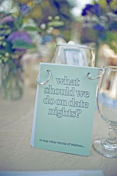 Fun ideas to leave on the table during the reception!