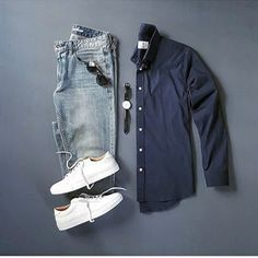 Outfit by: @silverfox_collective ______________ @thenortherngent for more outfits. #SHARPGRIDS to be featured. ______________ Shirt: Pacific Issue Pants: @flagandanthemco Shoes: Greats ______________ #outfitgrids #gqstyle #styleformen #ootd #lookbook #flatlay #flatlays #outfitgrid #falloutfits #greatsbrand #pacificissue #denim #ootdmen #stylishmen #styleblogger