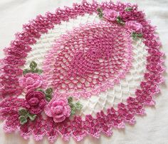 crocheted oval doily hand dyed dusty rose pink  and white  gift