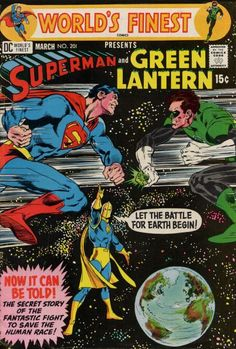 World's Finest Presents Superman and Green Lantern - 1971 DC Comics Bronze Age Neal Adams Old Comics, Vintage Comics, Vintage Books, Dc Comics Superheroes, Marvel Dc Comics, Dc Comic Books, Comic Book Covers, Superman Comic, Classic Comics
