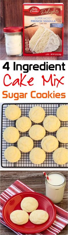 Cake Mix Sugar Cookies!  Such a delicious christmas cake mix cookies recipe to add to your dessert menu!