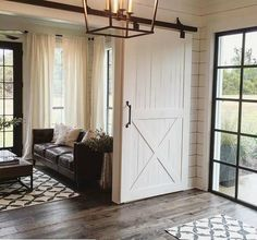 Sliding barn door design ideas for your home with mirror, window. Interior and exterior sliding barn door for your bathroom, bedroom, closet, living room. Style At Home, Modern Farmhouse, Farmhouse Decor, Farmhouse Style, Farmhouse Rugs, Farmhouse Bathrooms, Farmhouse Flooring, Fresh Farmhouse, Farmhouse Front