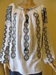 Hand embroidered Romanian blouse for sale at www.greatblouses.com Peasant Blouse, Tunic, Silk Thread, Long Blouse, Embroidered Blouse, Beautiful Hands, Grey And White, Hand Embroidery, Hand Sewing
