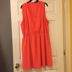 Forever 21+ Coral slit back dress Love love this dress, super comfy, but fun bright coral dress with slit back, fun summer dress to wear out or to a wedding, or throw a cardigan on and wear it to work, super functional Forever 21 Dresses