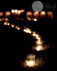 Candlelit Path with mason jars Mason Jar Candles, Mason Jar Lighting, Jar Lights, Light In The Dark, Wedding Decorations, Wedding Ideas, Inspiration, Weddings, Celebrations