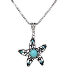 Get the boho looks with this beautiful Tibetan silver crystal rhinestone turquoise starfish pendant chain necklace.  Feature:  Shape: Starfish Closure Style: Lobster Claw Clasp  100% Brand New and High quality Material: Alloy, Turquoise Stone, Rhinestone, Resin, Acrylic Color: Tibetan Silv...