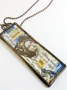 Original Collage Art Necklace Faith Necklace Soldered by Mystarrrs