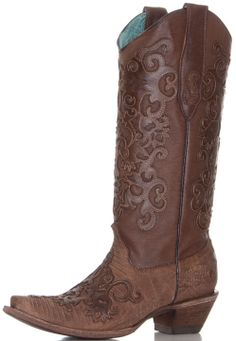 Pretty rich brown boot with a distressed lizard front and goat skin overlay