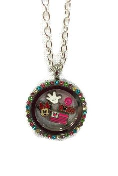 DISNEY Minnie Mouse Themed Multicolored Floating Memory Locket Necklace by myloveinglass on Etsy