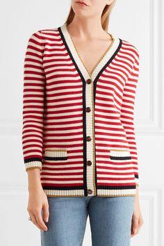 Gucci - Striped Stretch Cotton-blend Cardigan - Red - xx large